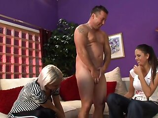 Amateur man gets his dick stroked by Laura Michaels & Natalie Topolski