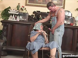 Abominable fat granny gives a blowjob and rimjob to one kinky man