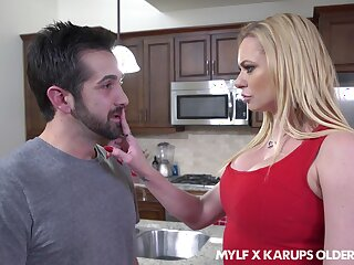 Single of age mom Briana Banks seduces son's best friend with the addition of sucks his cock