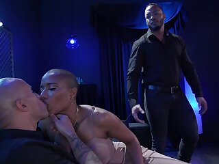 Wicked wife pegs her cuckold hubby with an increment of then fucks another man