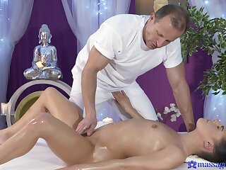 Erotic massage turns pretty steamy once the babe feels the cock in her hands