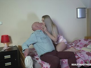Blonde with fine ass, senior porn at habitation with grandpa