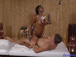 Interracial shacking up on burnish apply rub down gaming-table with a hot botheration ebony model