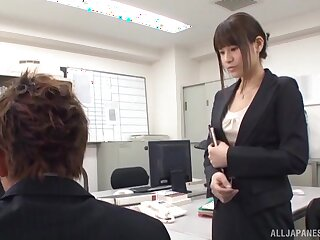 Japanese office girl is thither for a spicy treat with make an issue of new suppliant